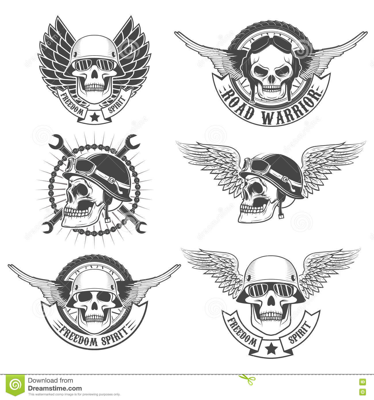 Set Of Motorcycle Club Labels Templatesulls In