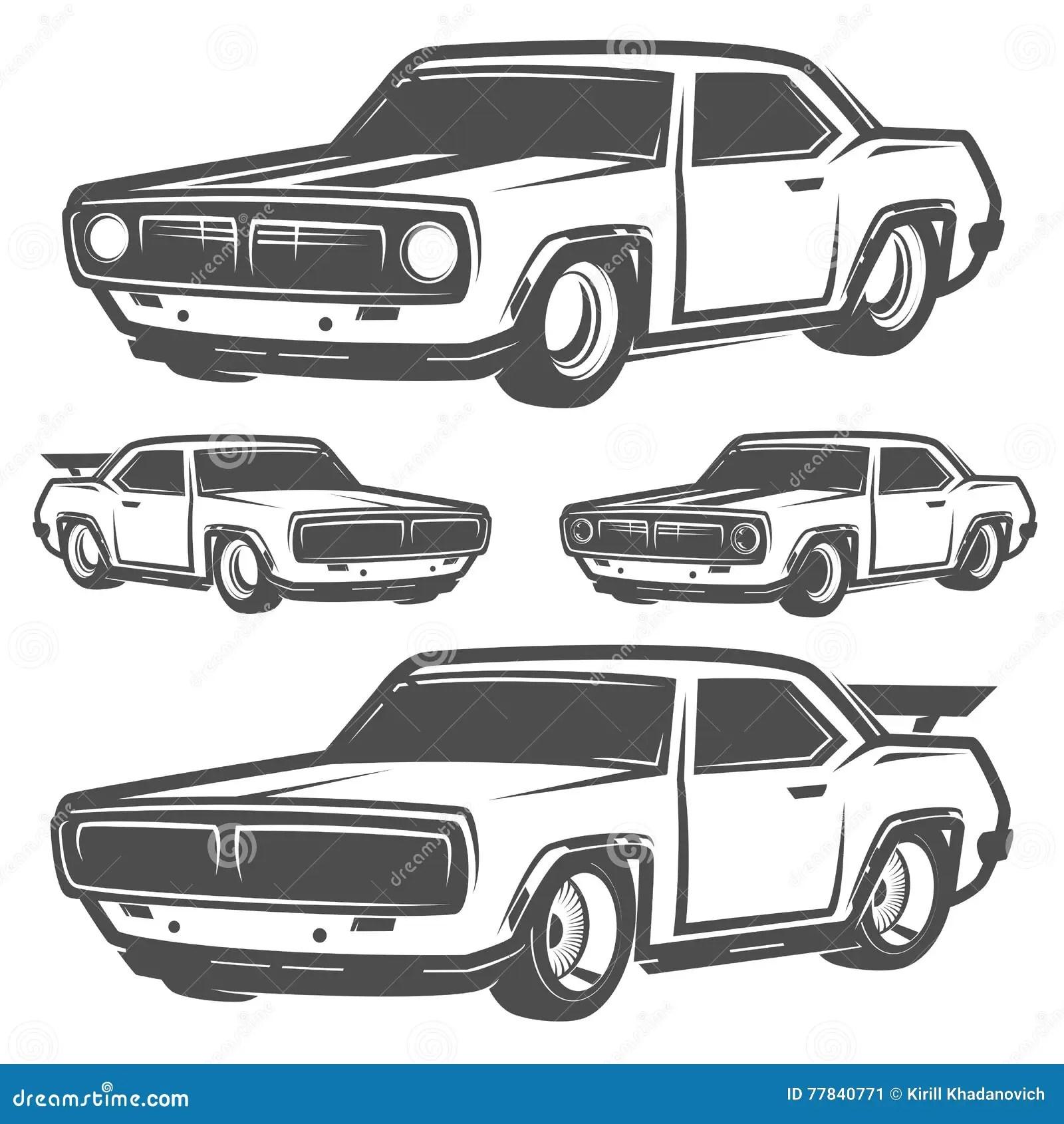 Muscle Car Garage Logo Black Vector Illustration