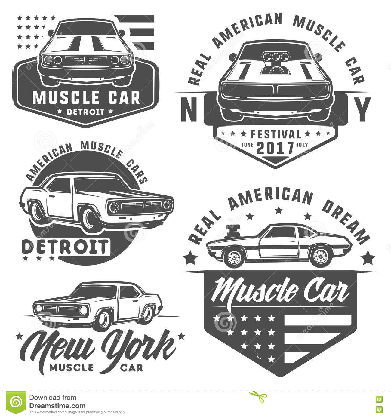 Set Of Muscle Car For Logo And Emblems Retro And Vintage