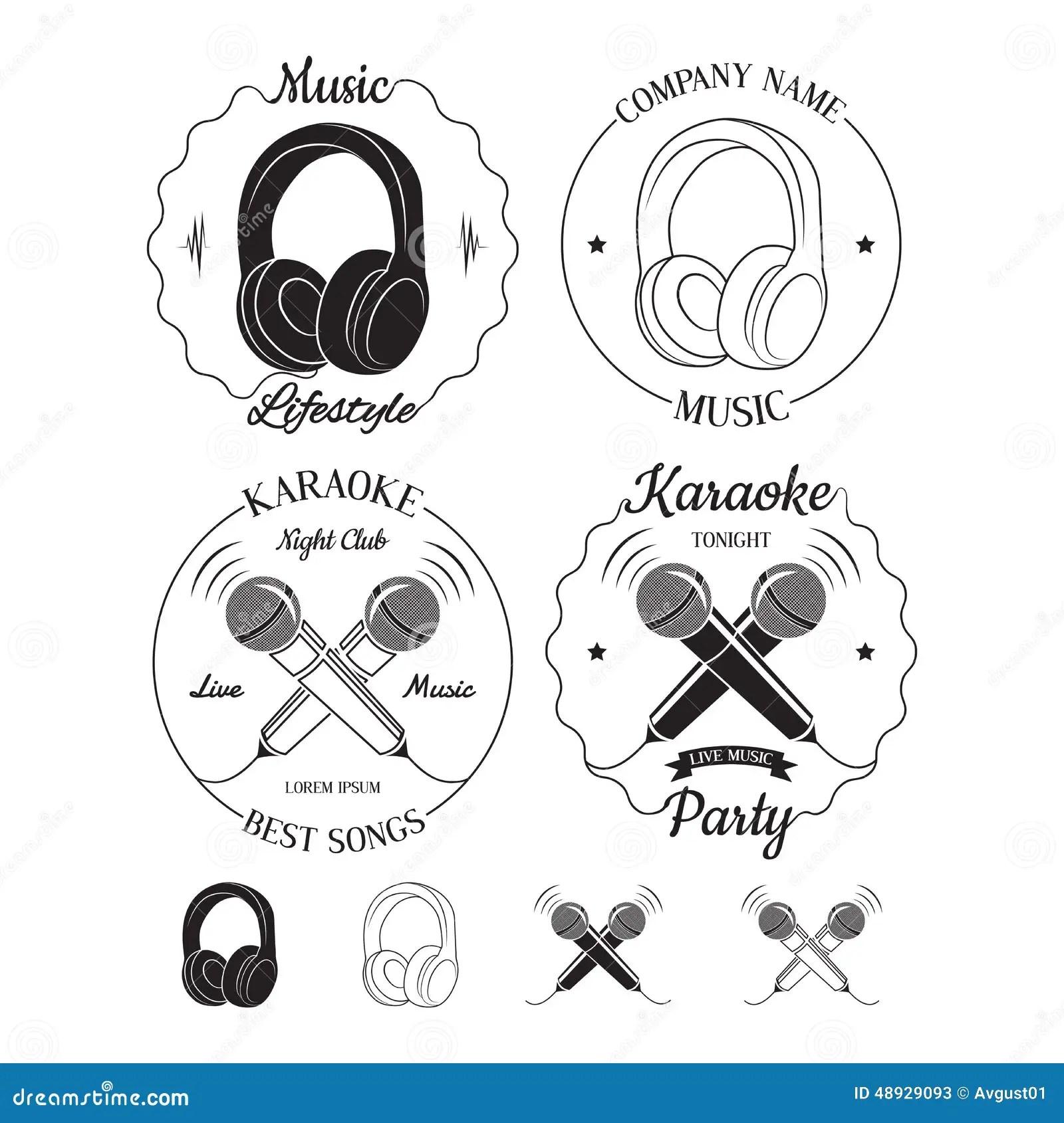 Set Of Music And Karaoke Logos, Labels, Badges And Design