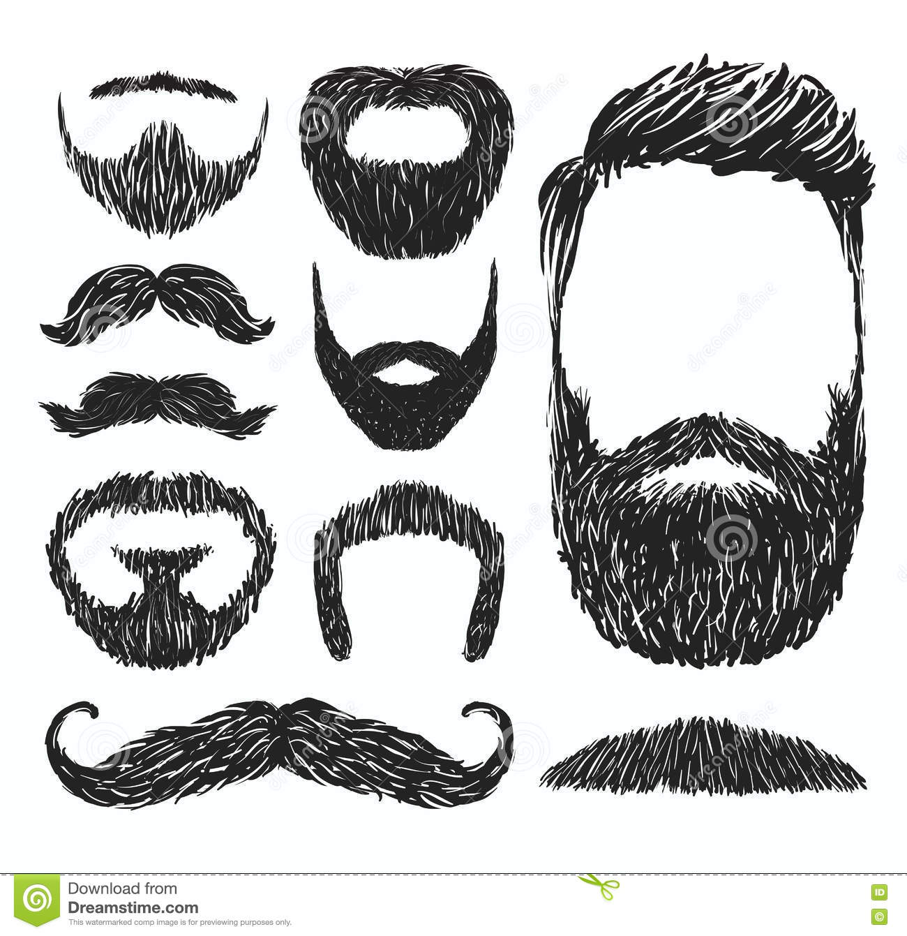 Set Of Mustache And Beard Silhouettes Vector Illustration
