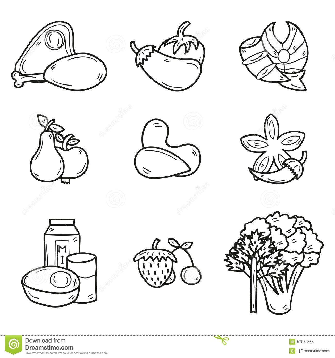 Set Of Objects In Hand Drawn Outline Style On Stock Vector