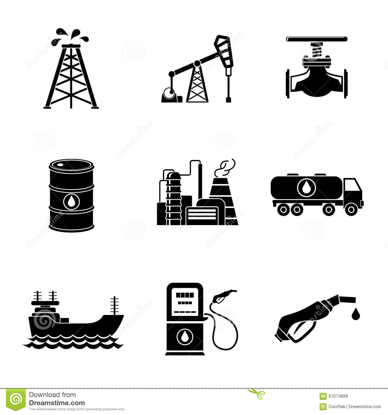 Oil Production Set Of Icons Petroleum Industry Sign Logo