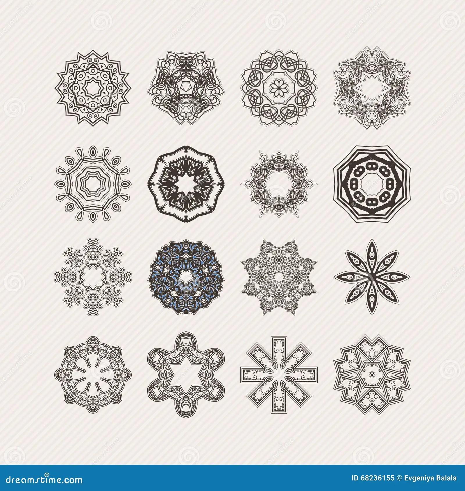 Set Of Ornate Vector Mandala Symbols. Gothic Lace Tattoo