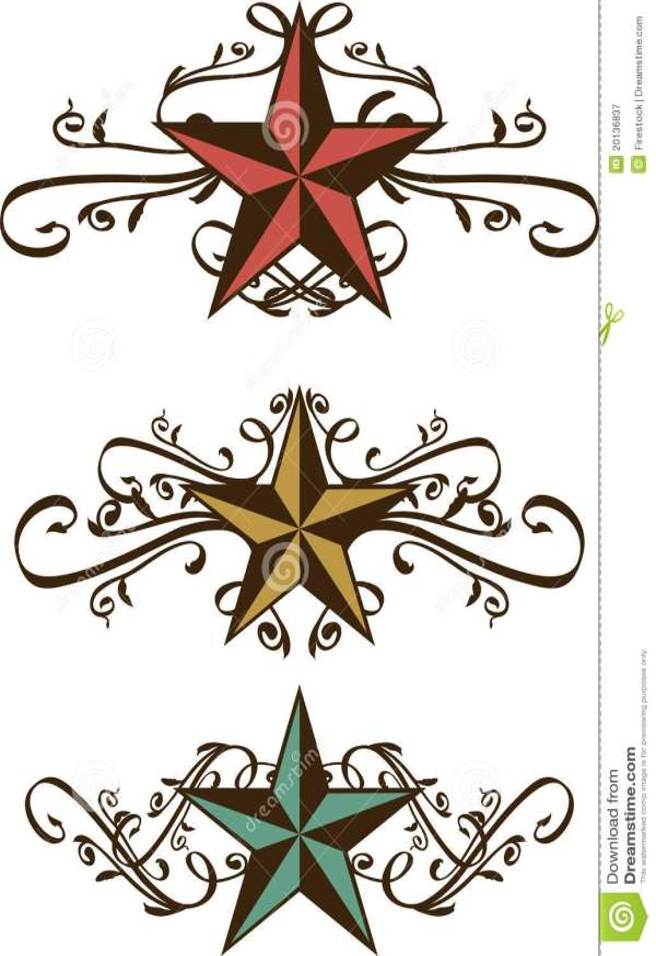 set of ornate western stars stock