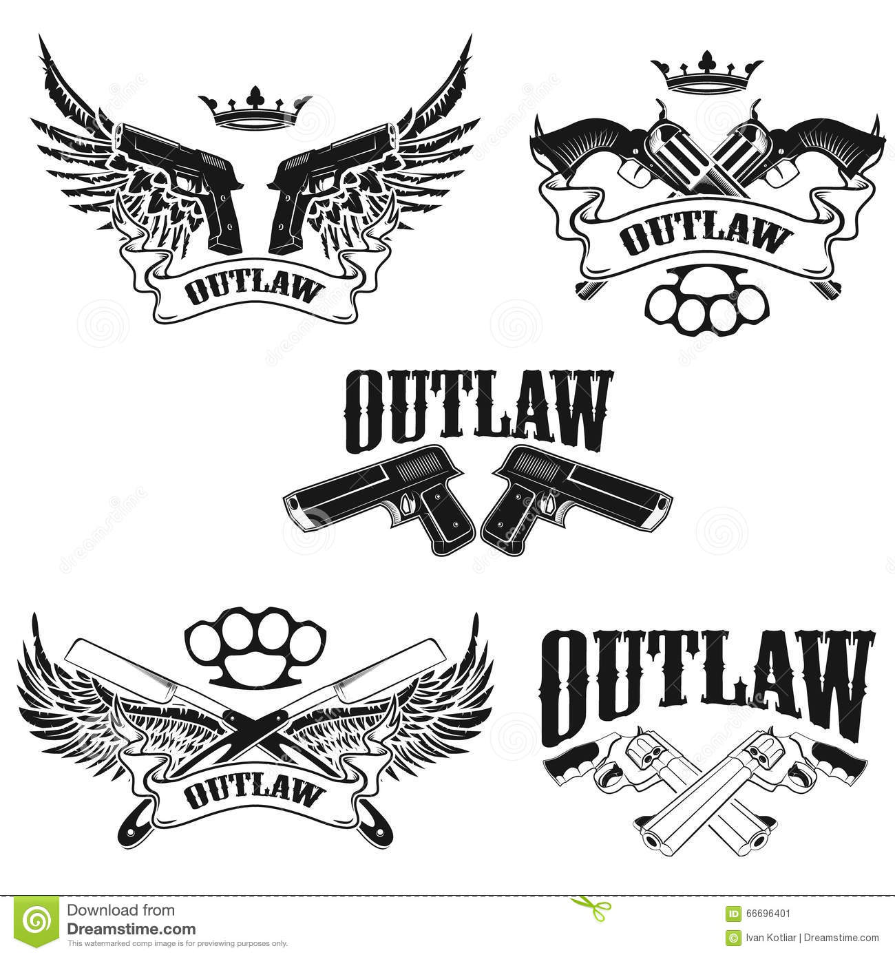 Set Of Outlaw T Shirt Print Design Templates Stock Vector