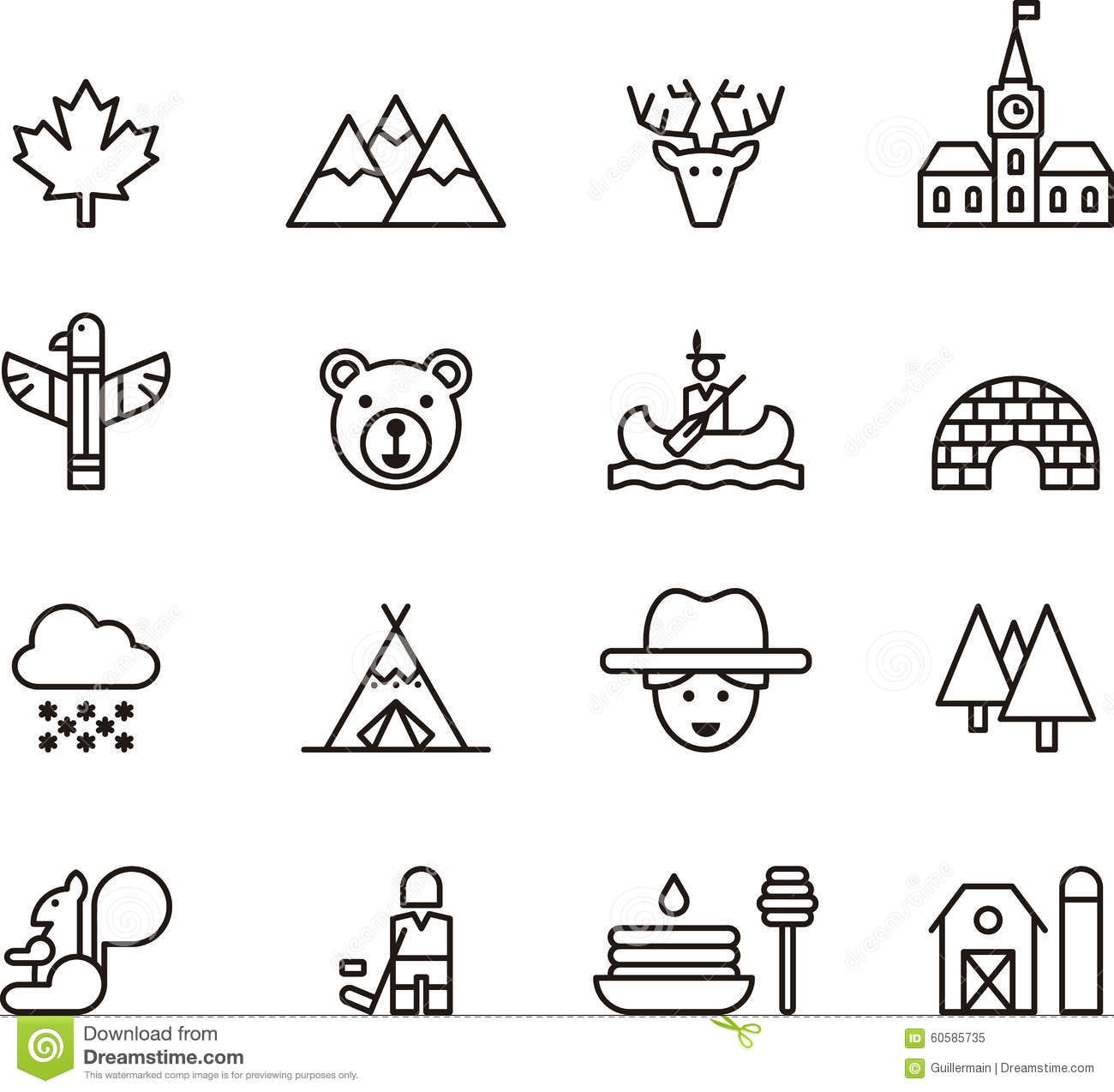 Set Of Outline Canada Icons Stock Vector
