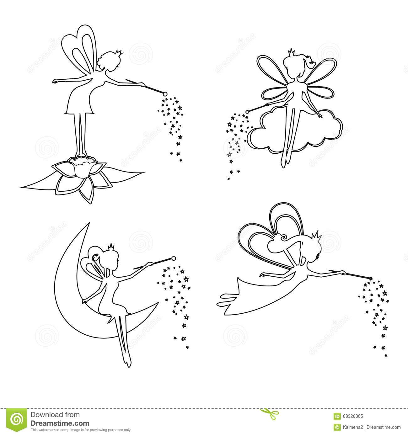 Set Of Outline Fairy With A Magic Wand Stock Vector
