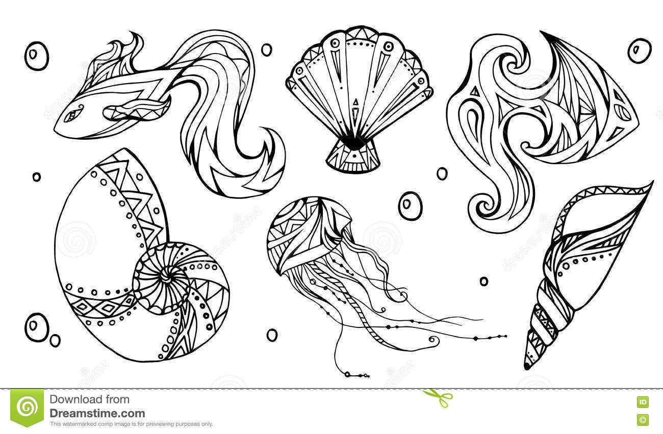 Set Of Outline Seashells Fish And Jellyfish Stock Vector