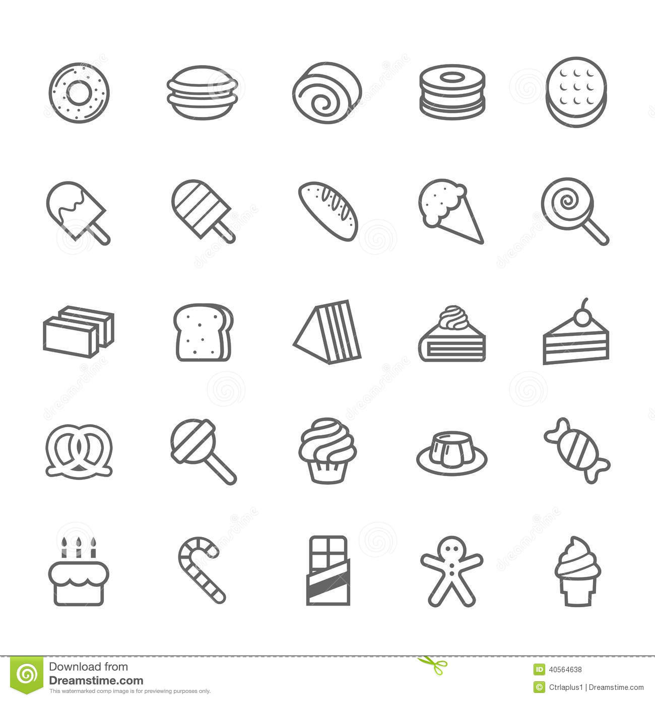 Set Of Outline Stroke Dessert And Sweet Icon Stock Vector