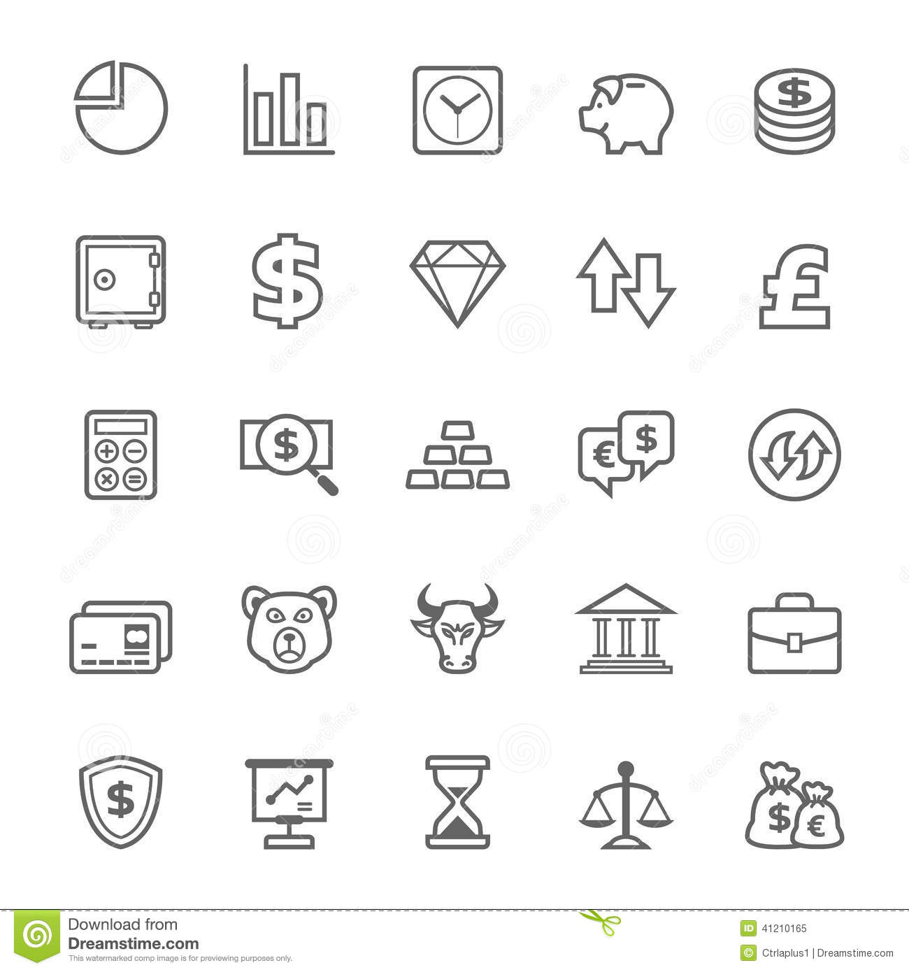 Set Of Outline Stroke Finance And Stock Icon Stock Vector