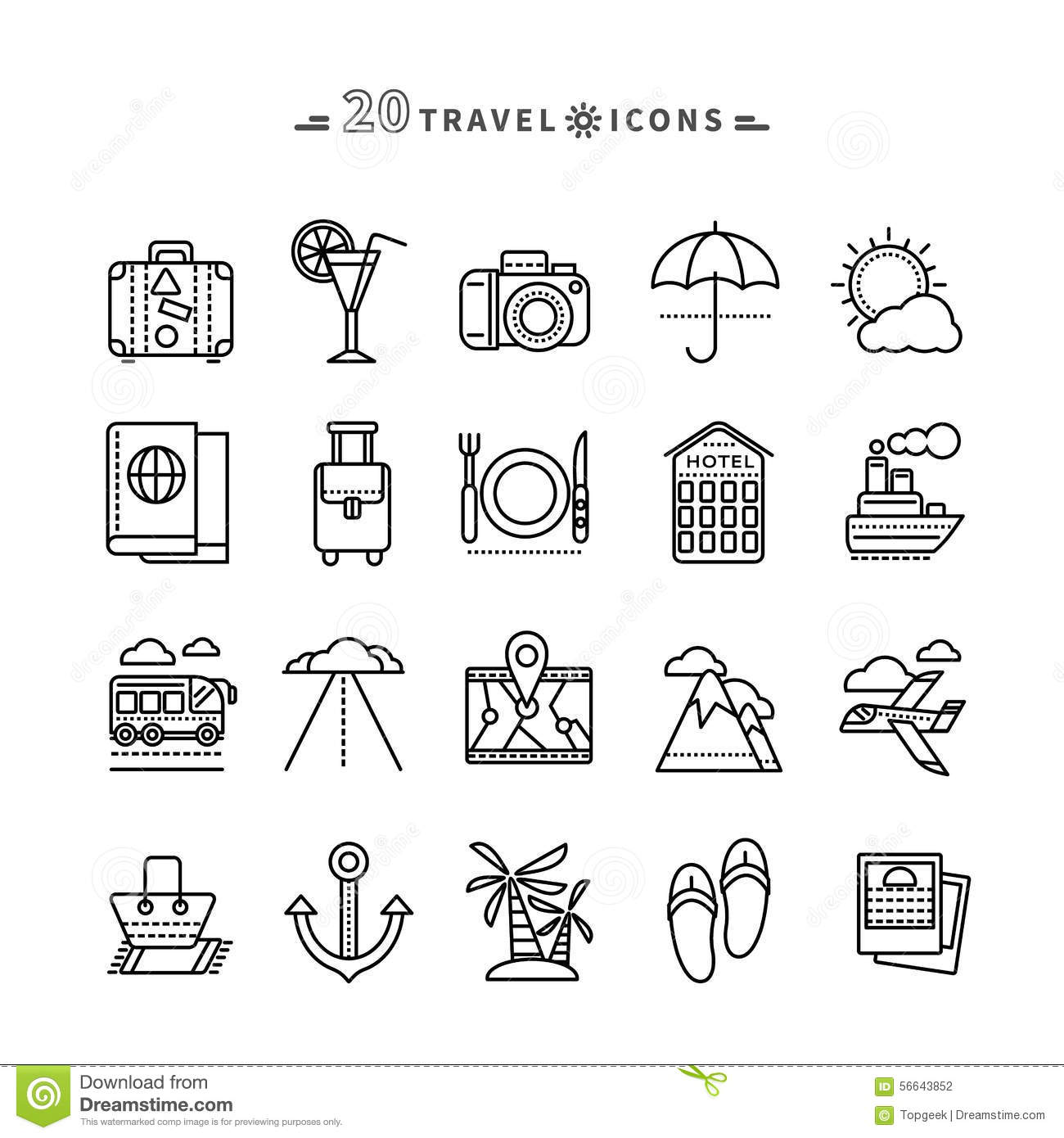Set Of Outline Travel Icons On White Background Stock