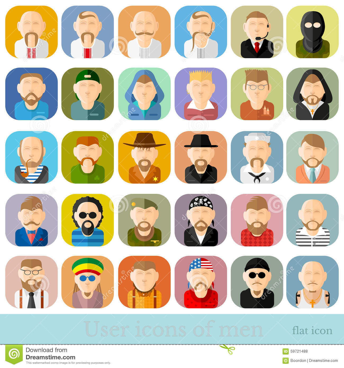 Set Of People Icons In Flat Style Different Occupations