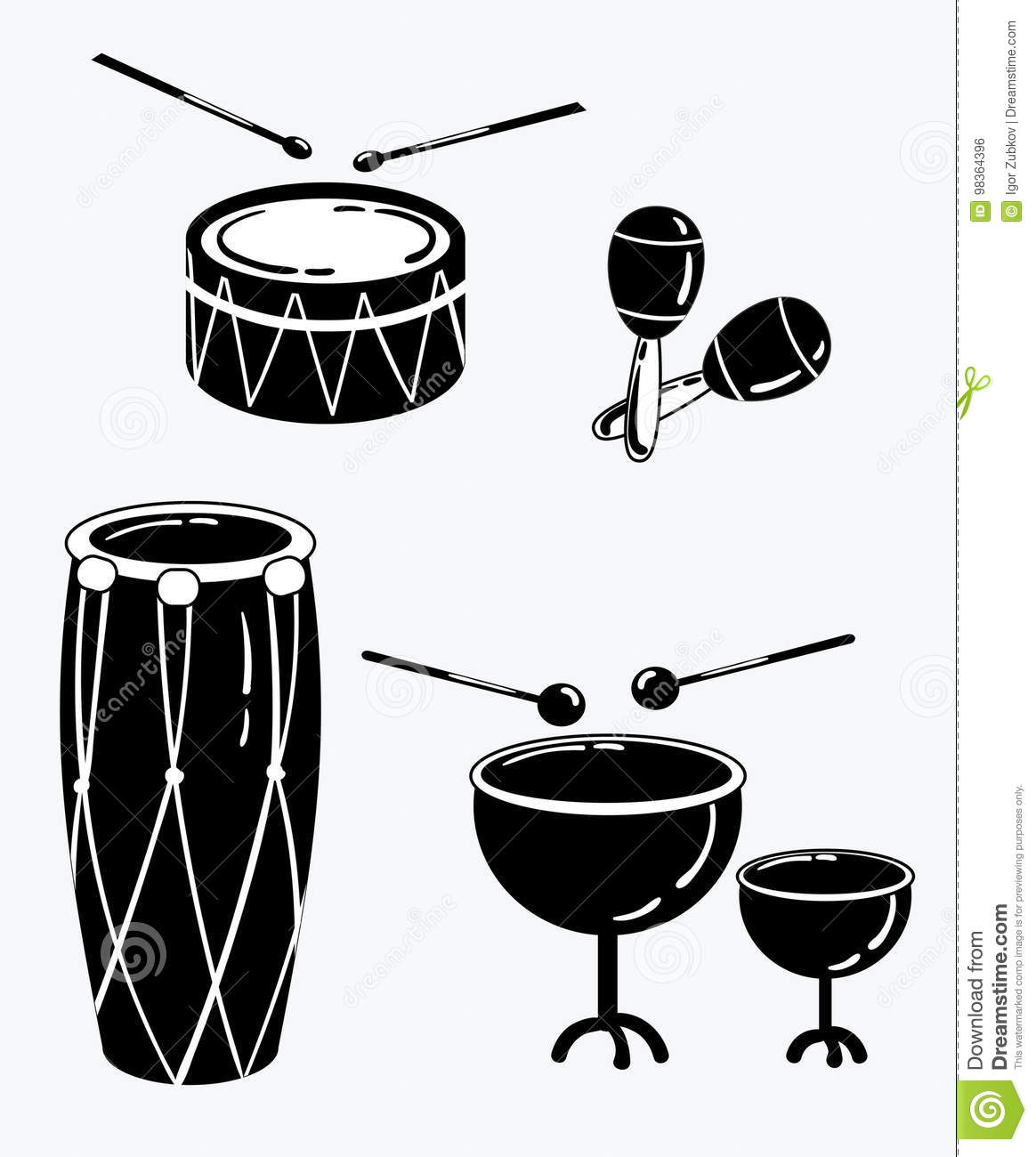 A Set Of Percussion Musical Instruments. Collection Of