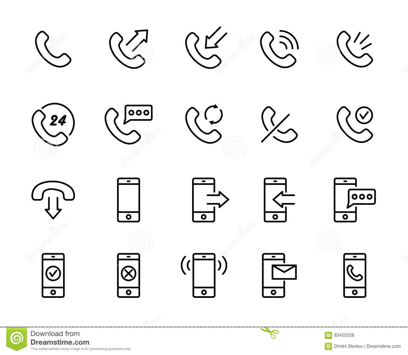 Call Center Symbols Icons Set, Simple Style Vector