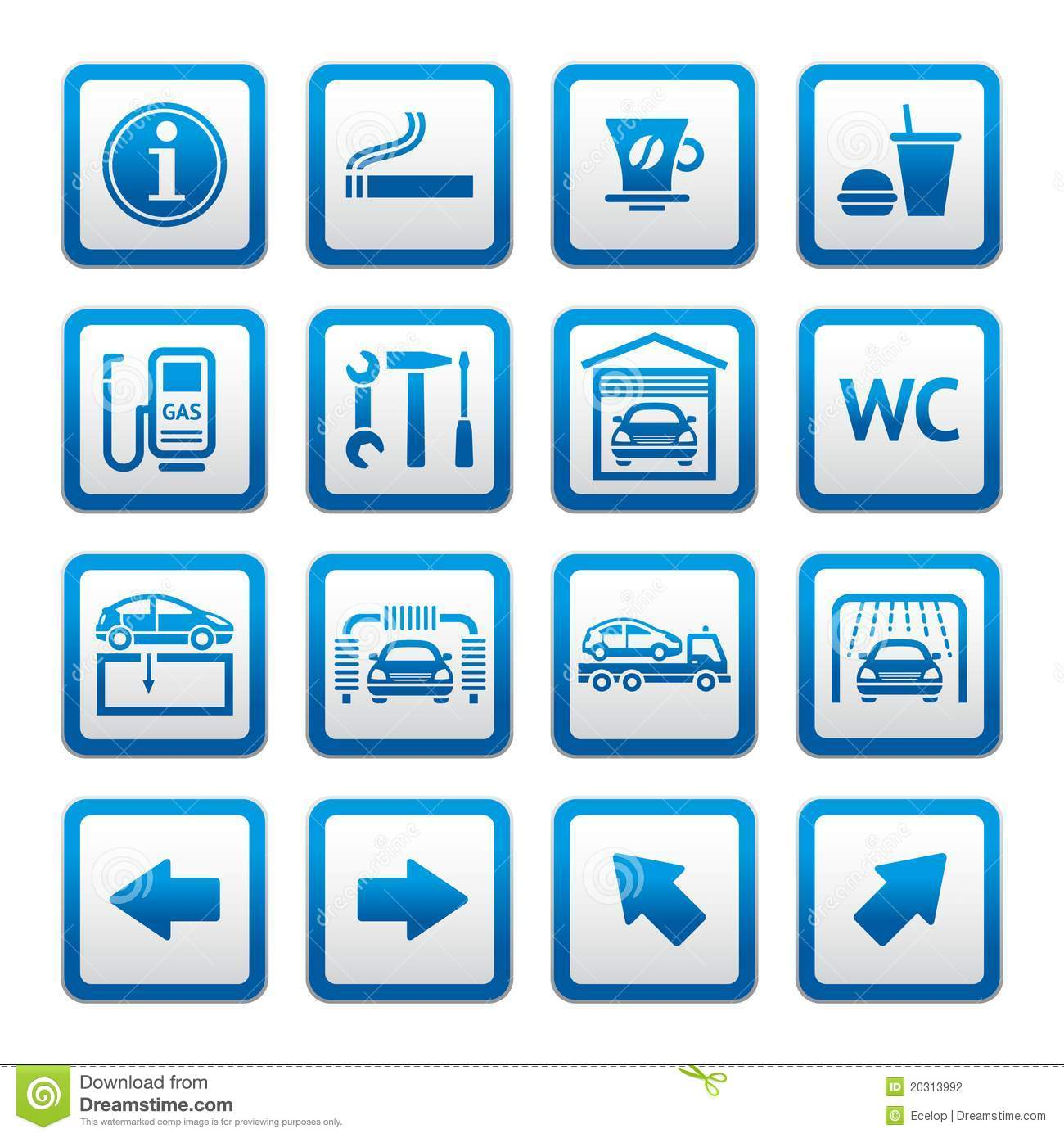 Set Pictograms Car Services Gas Station Symbols Stock