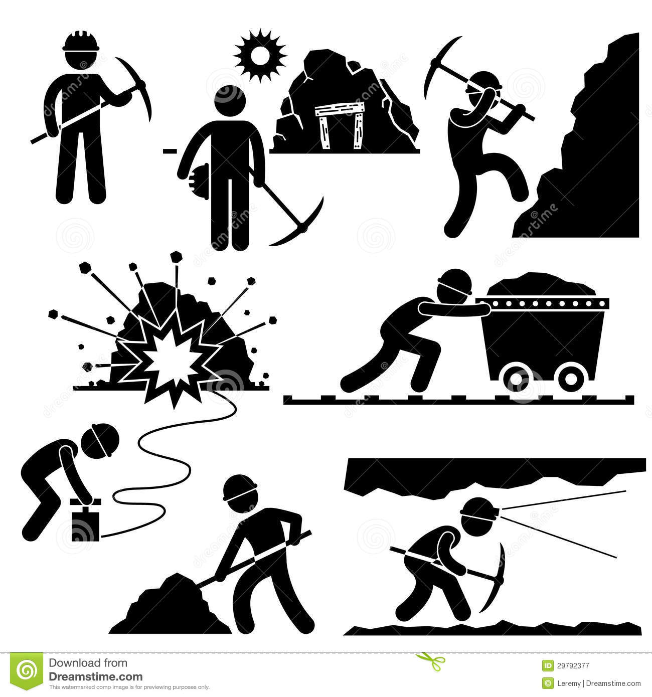 Mining Worker Miner Labor People Pictogram Royalty Free