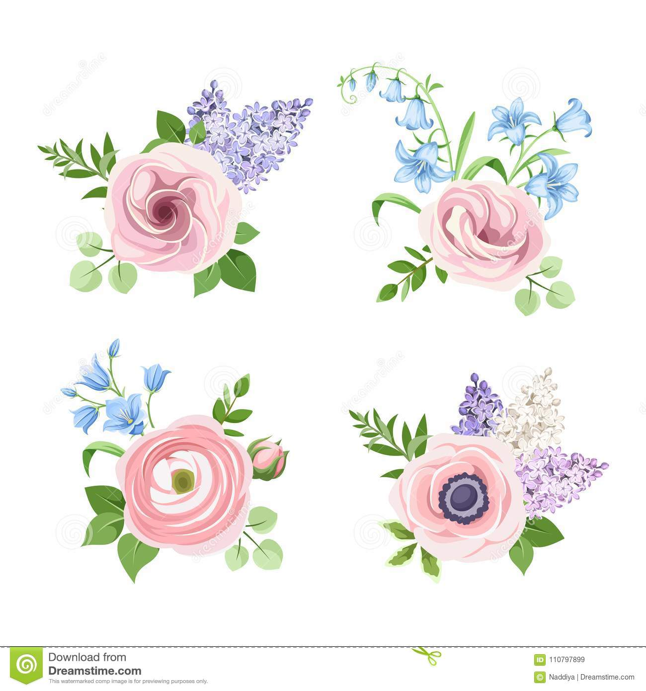 hight resolution of set of pink blue and purple flowers vector illustration