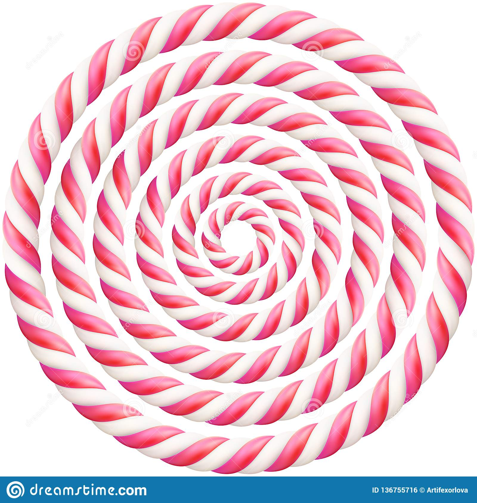 Set Of Pink Twisted Hard Candy Cane Frame With Shadow Eps
