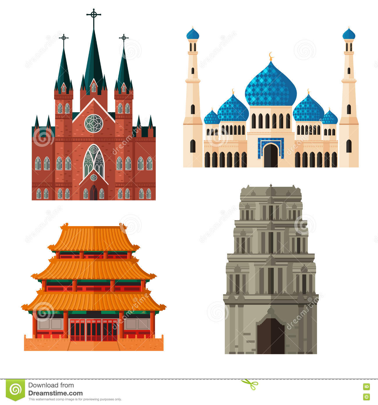 Set Of Place Of Worship For Different Religions Stock