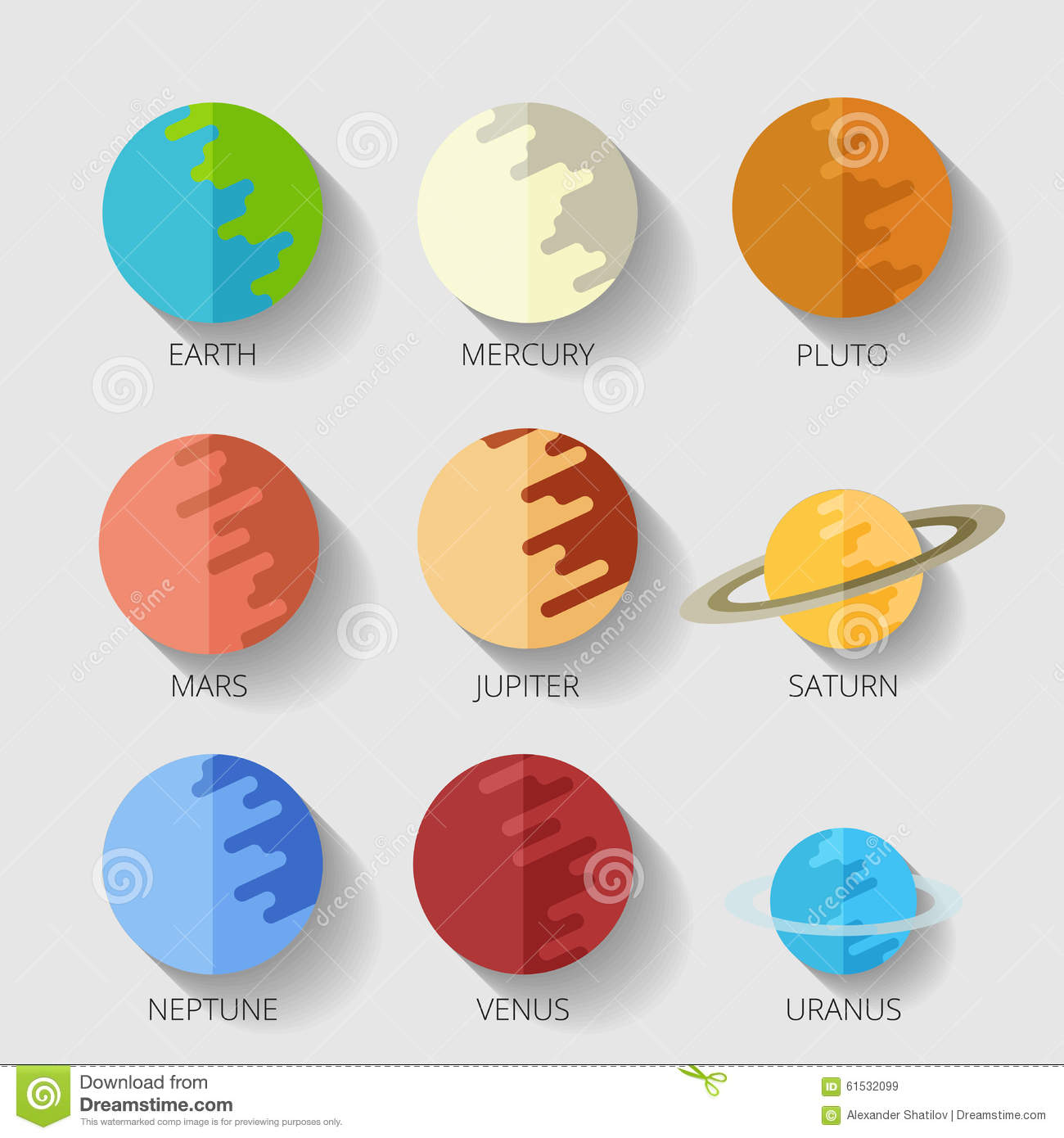 Set Planets Solar System Cartoon Style Flat Icon Raster