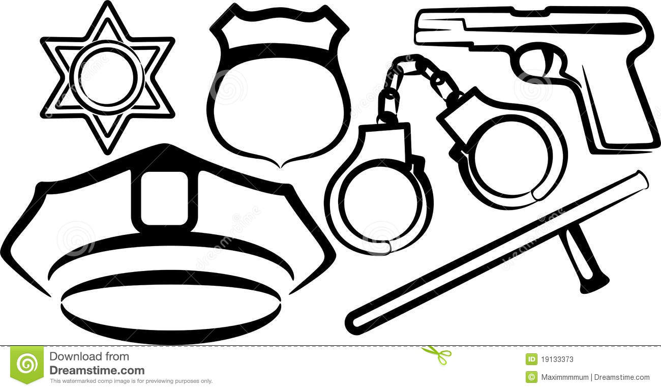 Set of police items stock image. Image of criminal