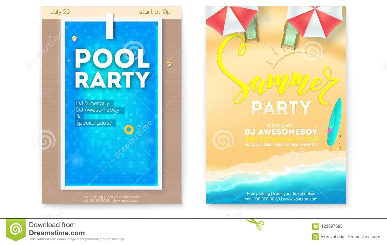 Download Set Of Posters For Summer Parties. Invitation For Pool Party And  Beach Summer Party