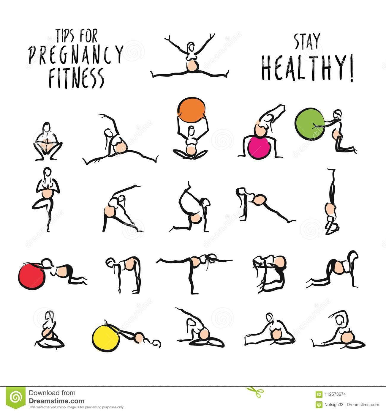 Set Of Pregnant Yoga Fitness Doodles Stock Vector