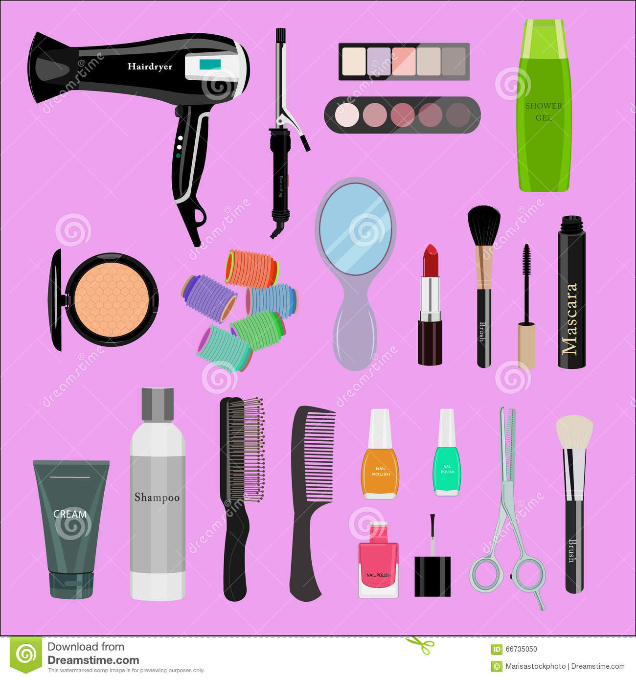 Set Of Professional Cosmetics Beauty Tools And Products
