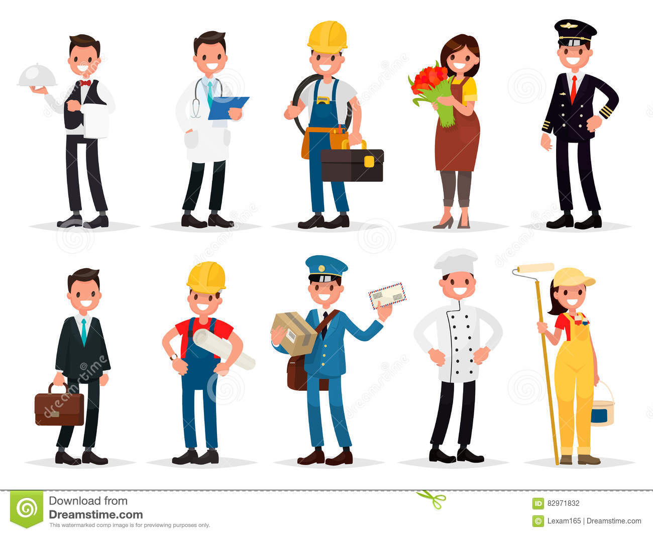 Set Professions Waiter Doctor Electrician Florist