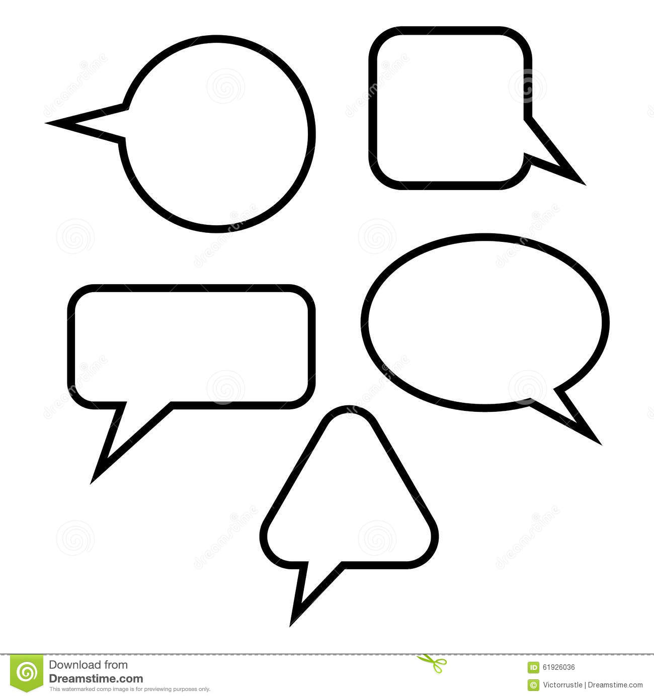 Set Quote Speech Bubble. Frame For Text. Vector Stock