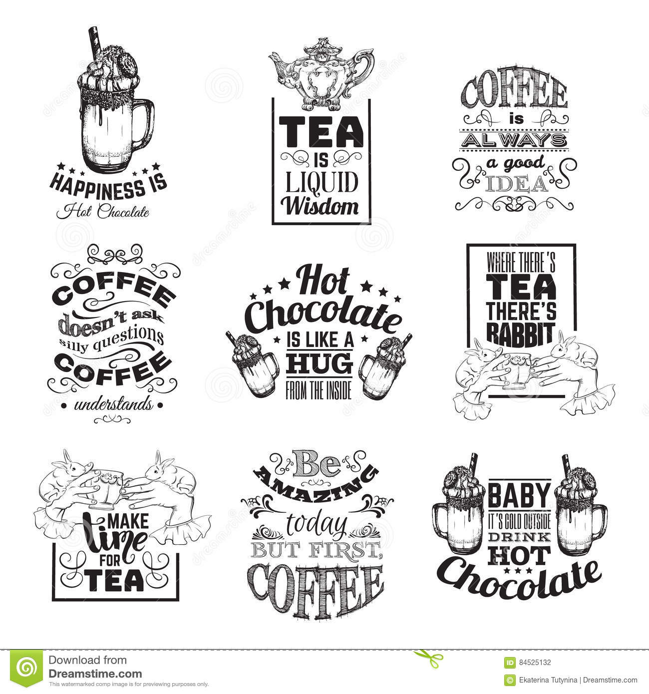 Quote Typographical Background About Hot Chocolate Vector