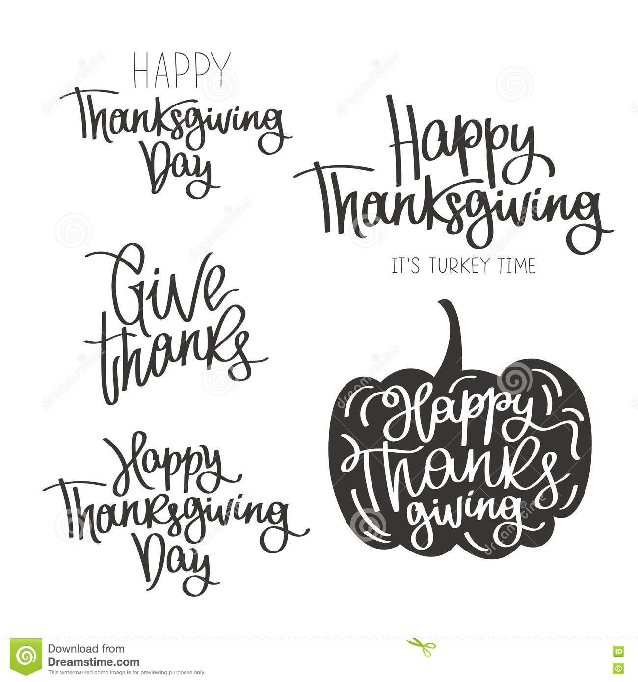 Set Of Quotes To The Happy Thanksgiving Day Stock Vector