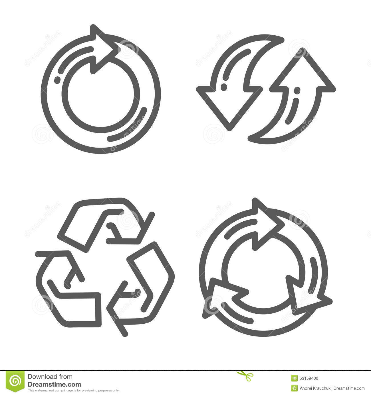 Set Of Recycle Arrow Thin Line Icon Stock Vector