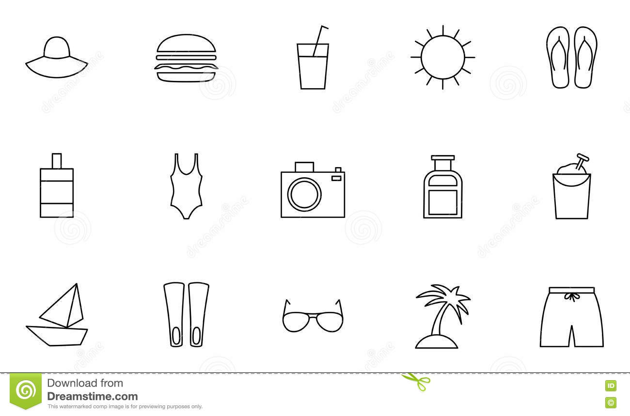 Set Of 15 Resort And Vacations Outline Icons Stock Vector