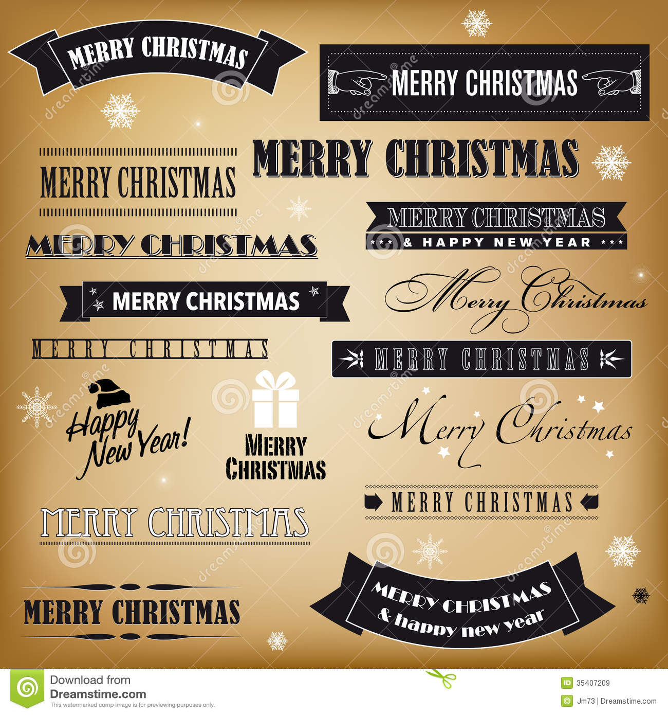 Set Of Retro Christmas Signs Stock Vector Illustration