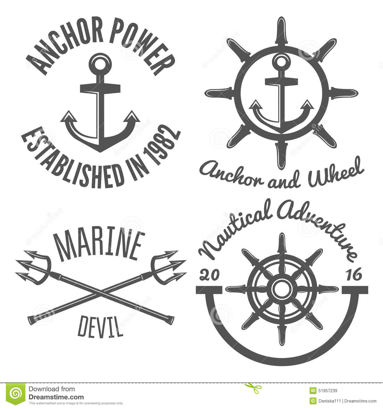Set Of Retro Vintage Nautical Labels And Badges Stock