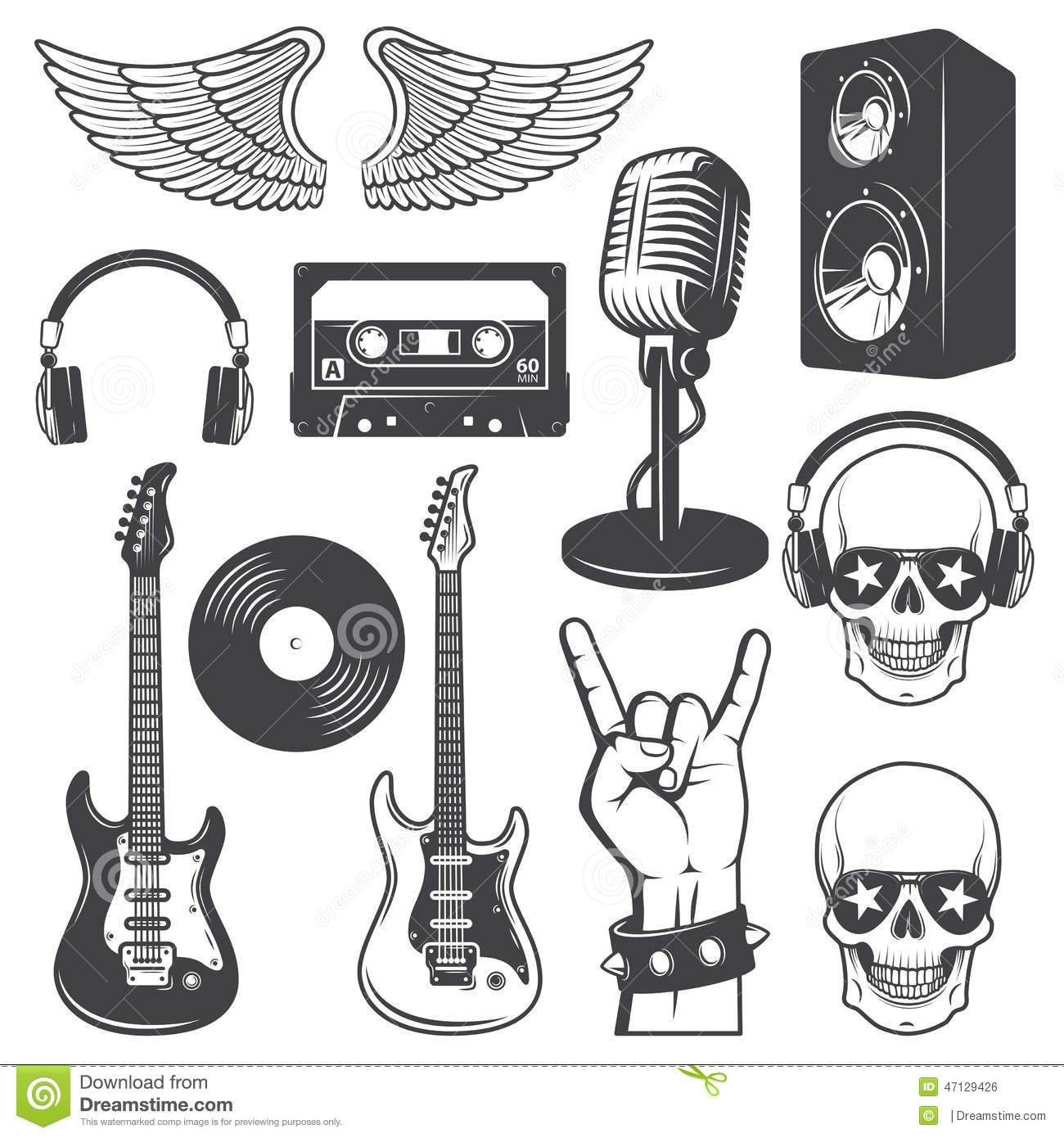 Set Of Rock And Roll Music Elements Stock Vector