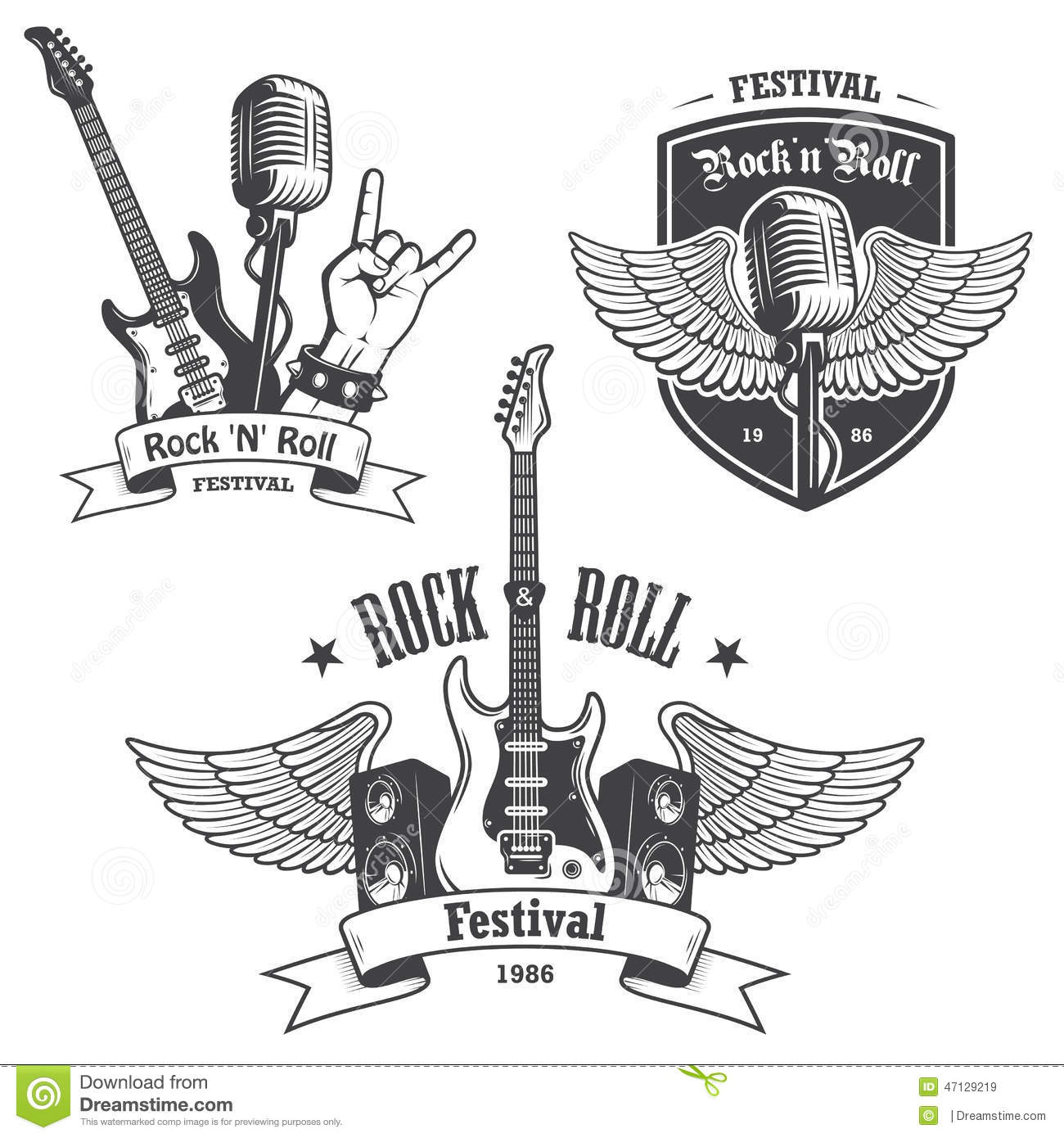 Set Of Rock And Roll Music Emblems Stock Vector