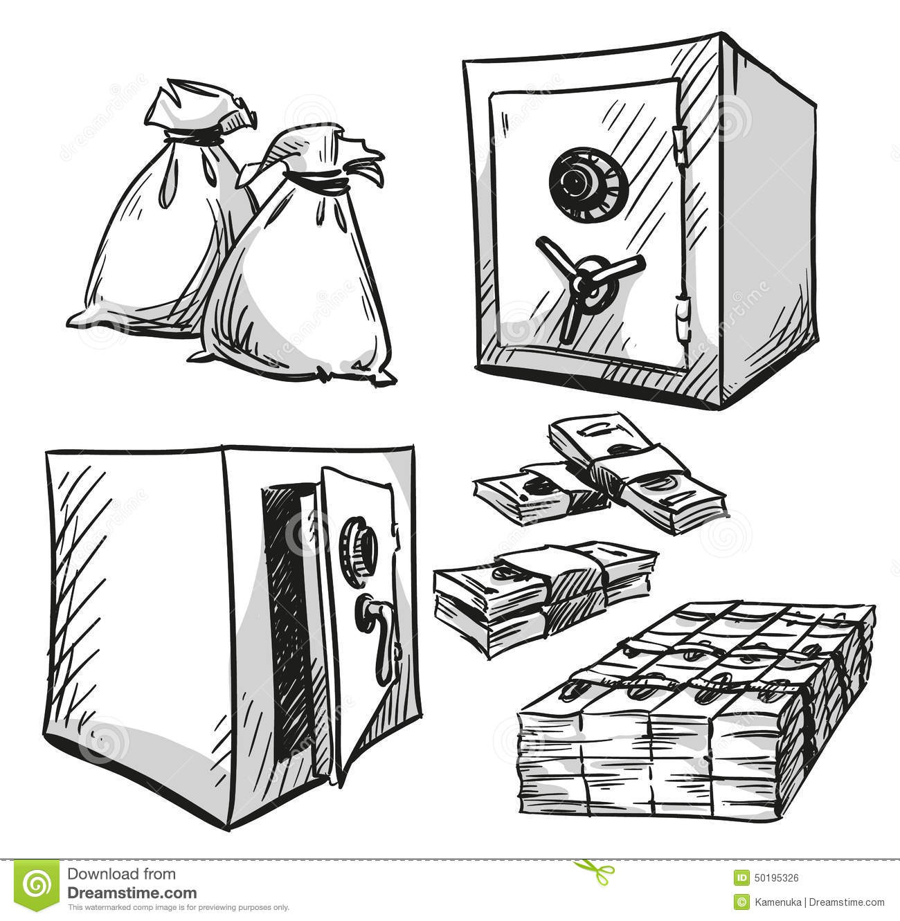 Set Of Safes Drawings. Money, Cash Stock Vector