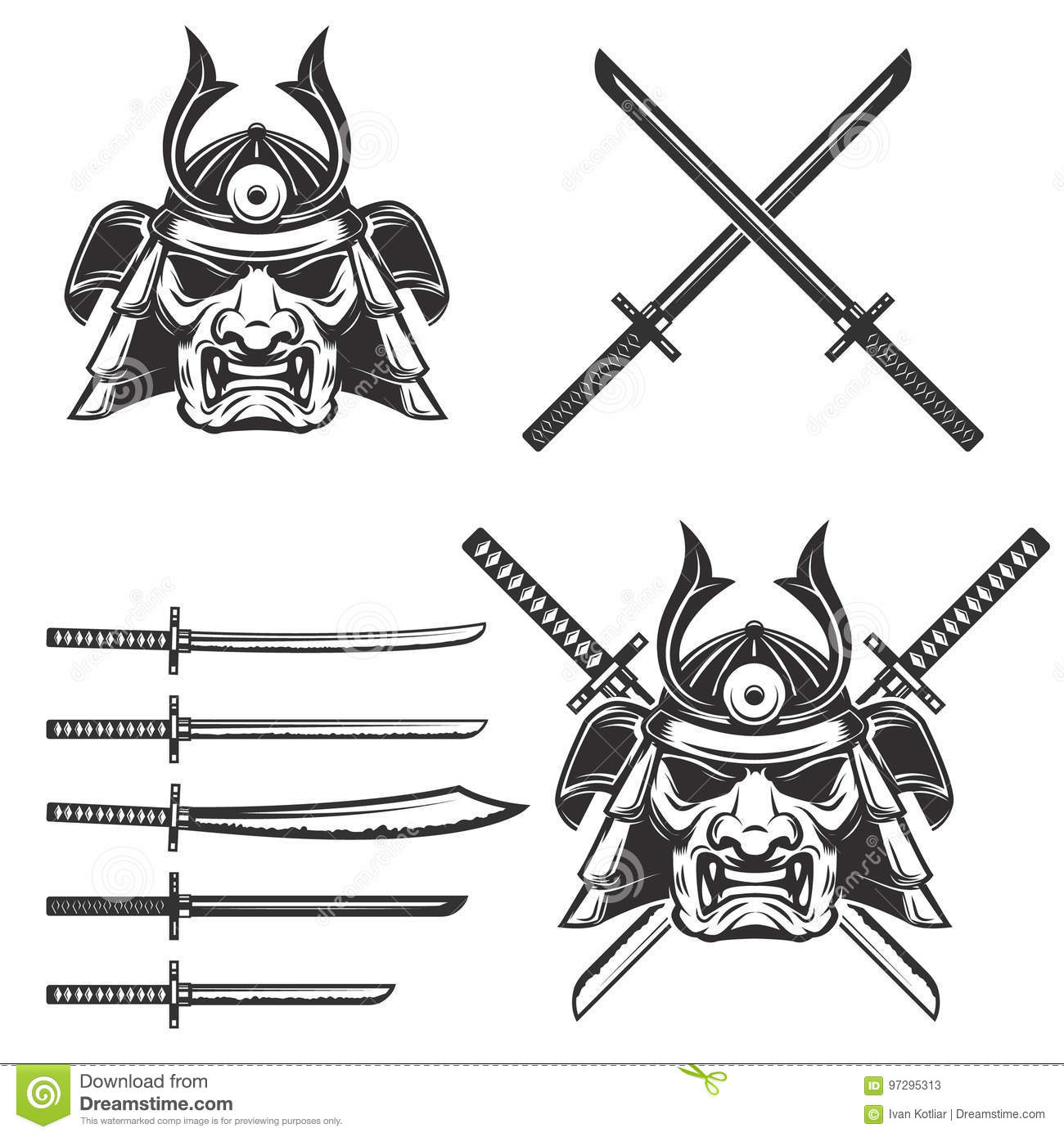 Set Of The Samurai Mask With Crossed Swords Isolated On