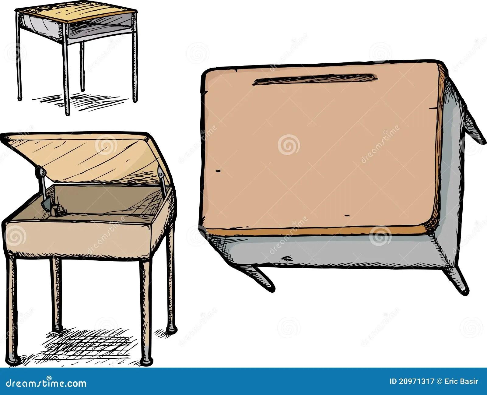 Set Of School Desks Stock Vector Illustration Of Hand