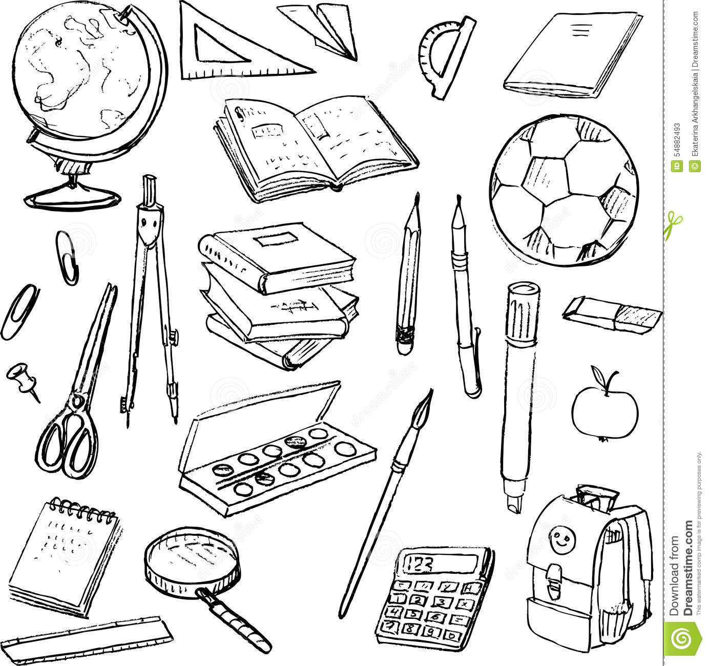 Set Of School Objects Stock Vector Illustration Of