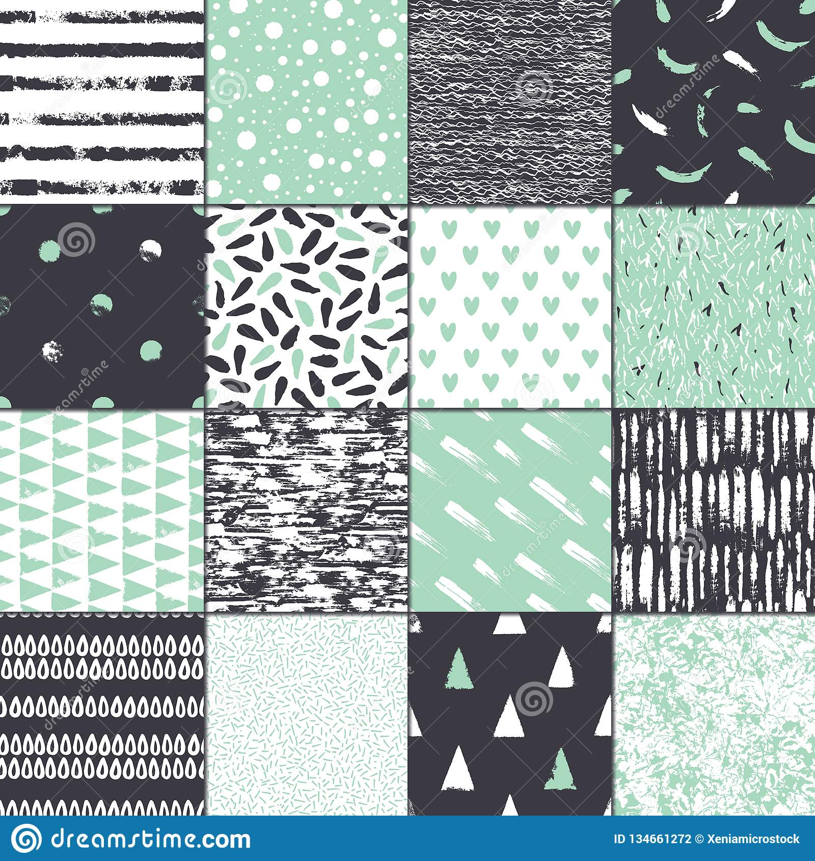 Set Of 16 Seamless Texture Abstract Forms Drawn A Wide