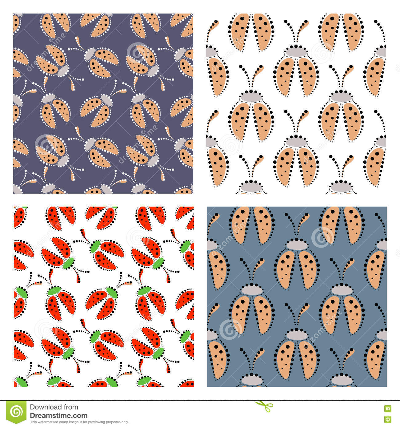Set Of Seamless Vector Patterns With Insect Stock Vector