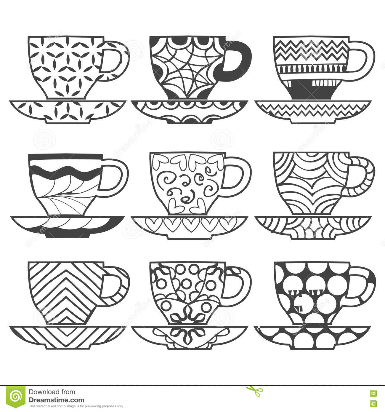 Set Of Set Of Cups Hand Drawn Illustration Stock Vector