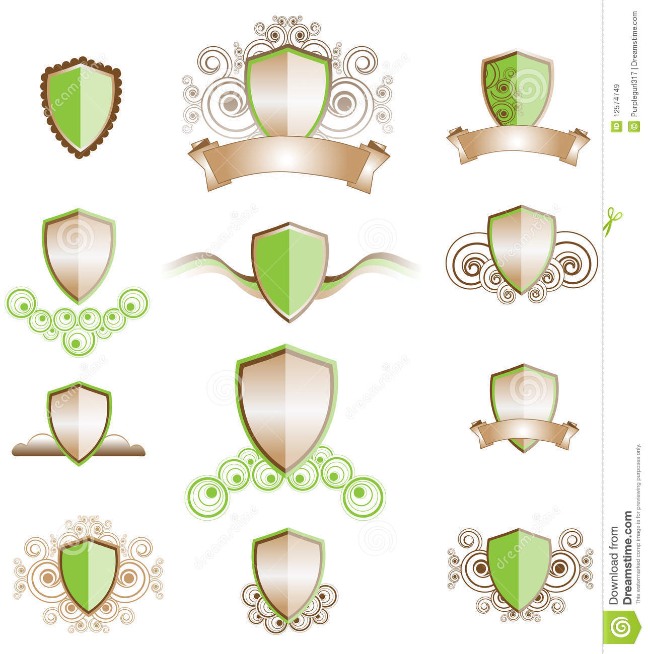A Set Of Shield Designs Royalty Free Stock Images