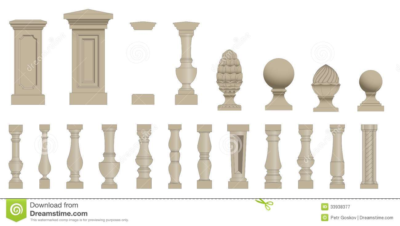 Set Of Silhouettes Balusters Royalty Free Stock