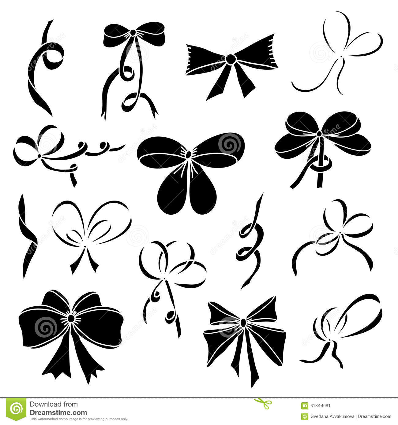 Set Of Silhouettes Of Bows And Satin Ribbons Black Stock
