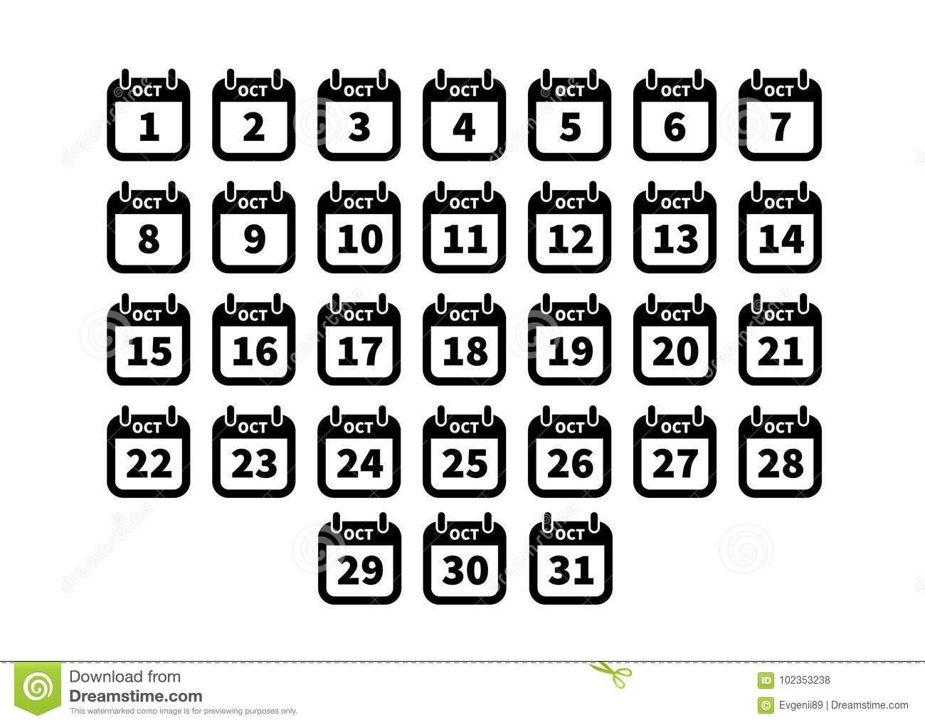 Set Of Simple Black Calendar Icons On October Isolated On